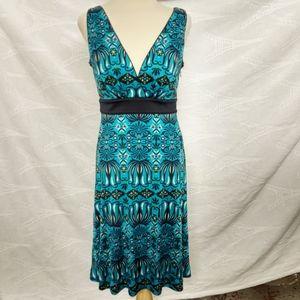 Tory Burch Black Blue Silk Dress